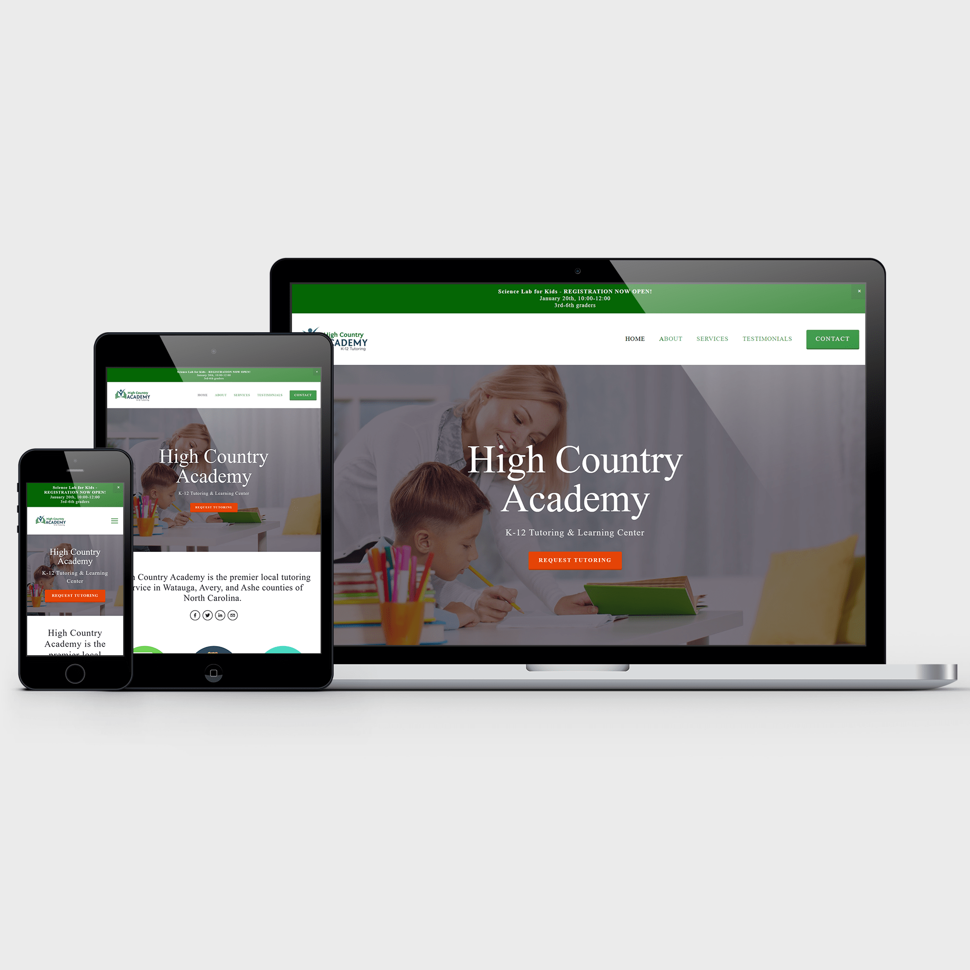 high country academy portfolio web design lazarus design team charlotte